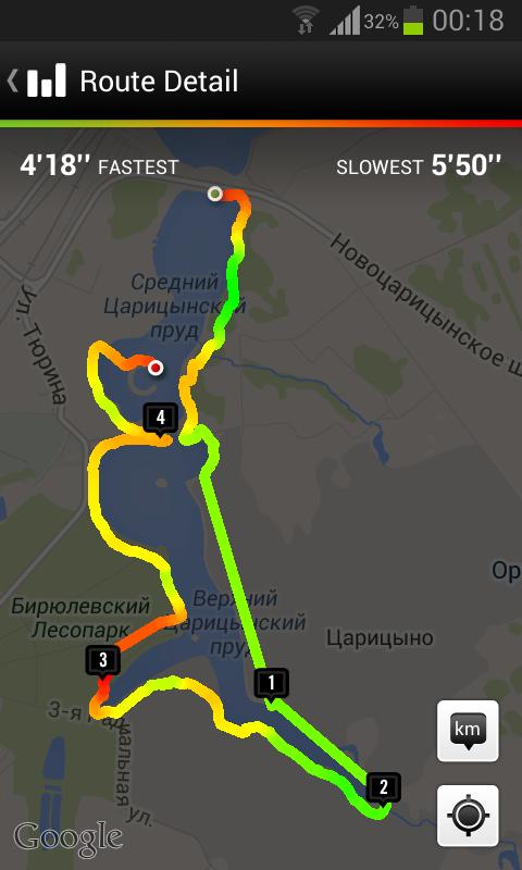 Nike+ Running: маршрут при потере GPS